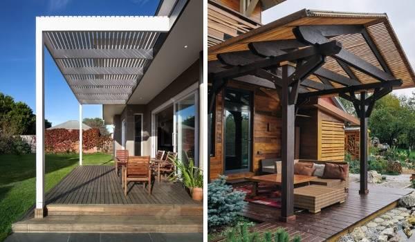 Деревянные решетчатые навесы над крыльцом частного дома