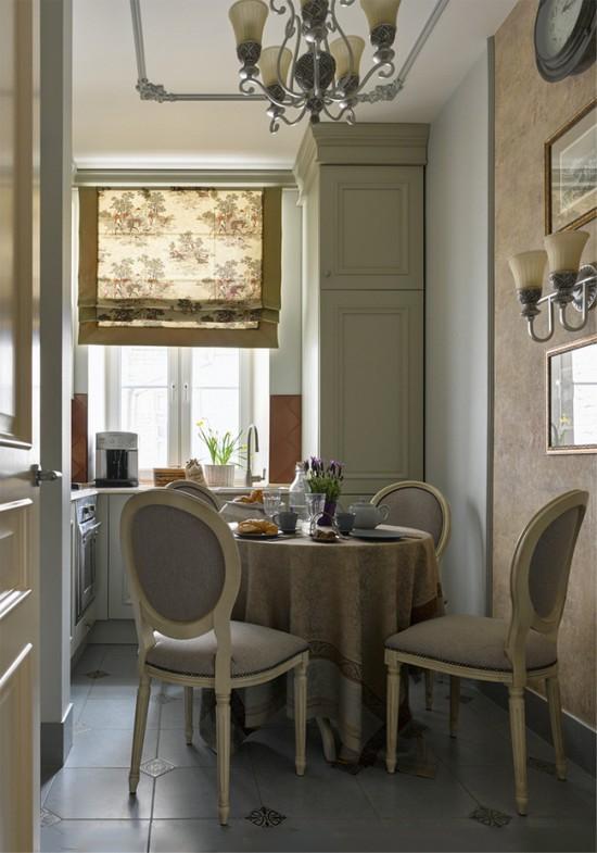 Дизайн бежевой кухни в классическом стиле