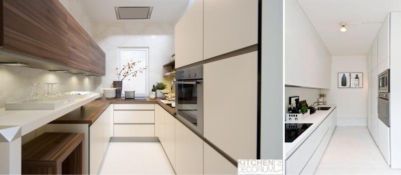 Дизайн и декор узкой кухни