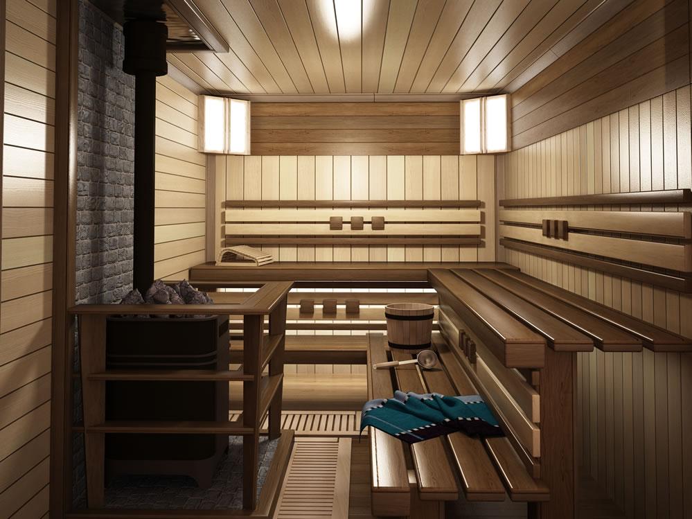 Интересный дизайн помещения парной