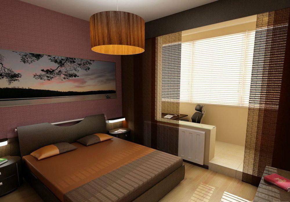 современная спальня с балконом