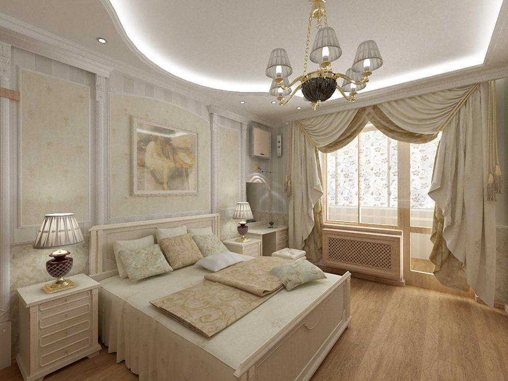 дизайн спальни арт деко с балконом