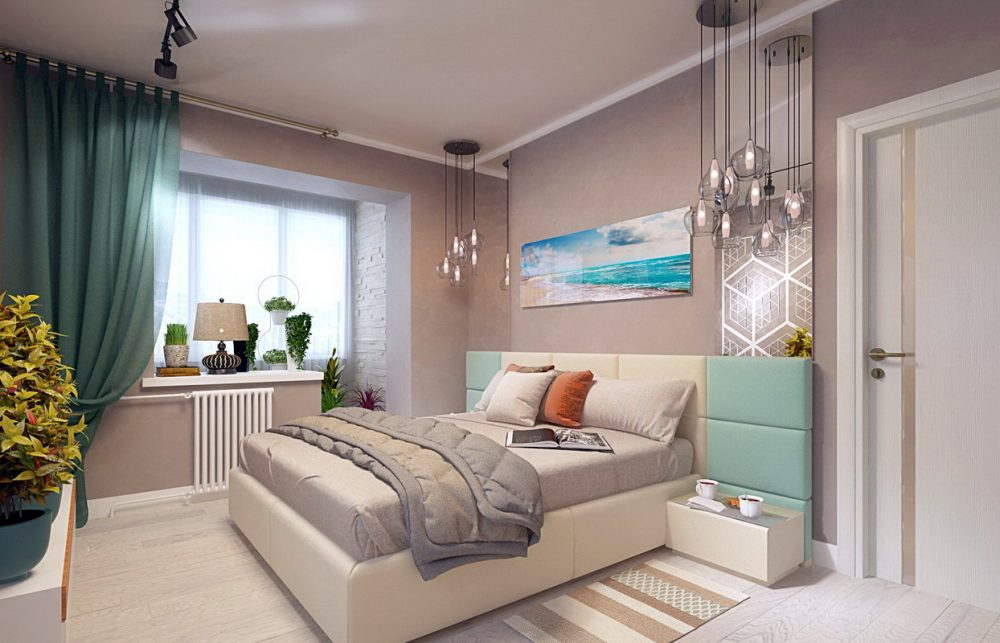 оформление спальни с балконом