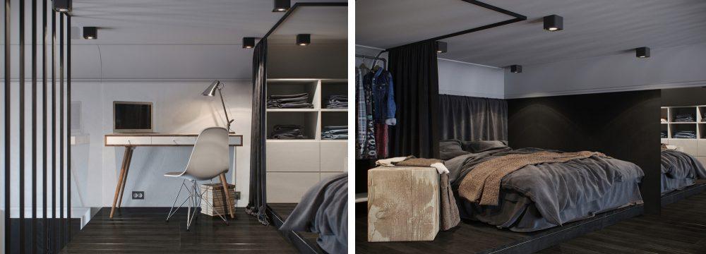 Удобный второй уровень с гардеробной, спальней и небольшим рабочим уголком под 4-метровым потолком. Таким образом, внизу осталась только публичная, наиболее эффектно оформленная зона