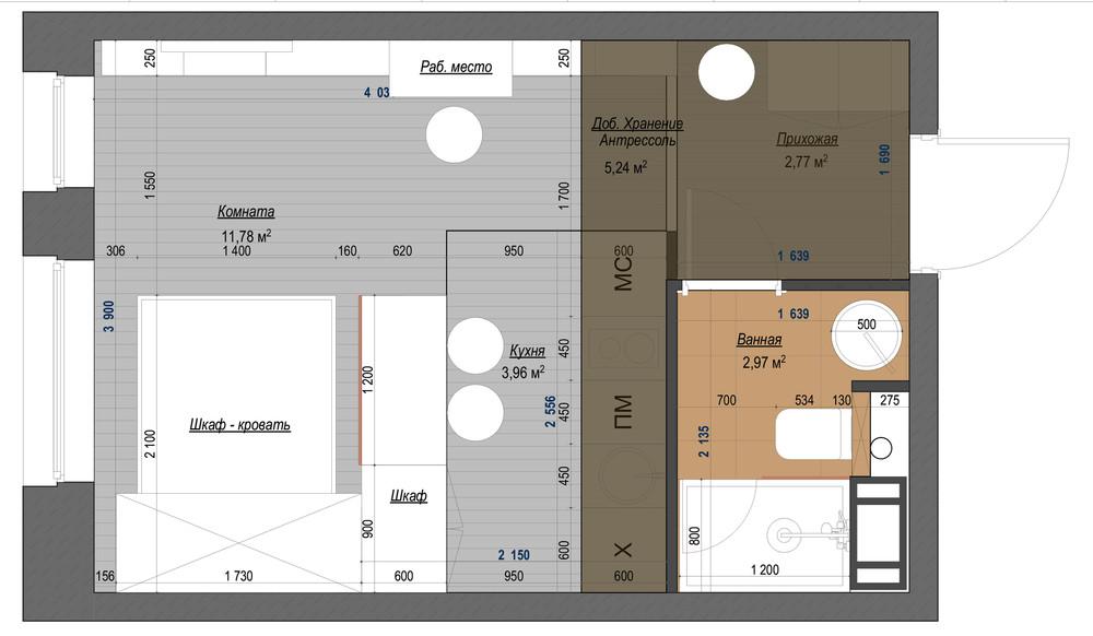 Общий план и дизайн-проект квартиры-студии в синих тонах