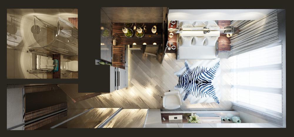 Общий план ультра-компактного городского жилья площадью 20 кв. м - комфортный и стильный вариант для молодых людей с мобильным образом жизни