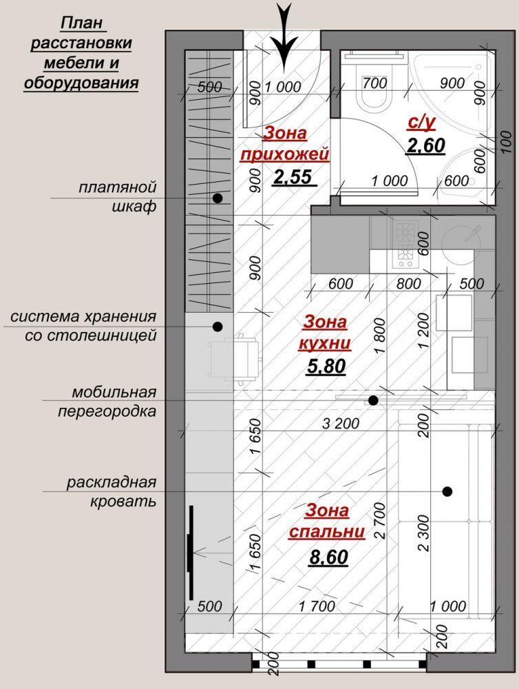 План расстановки мебели и устройство систем хранения квартиры площадью 20 кв. м