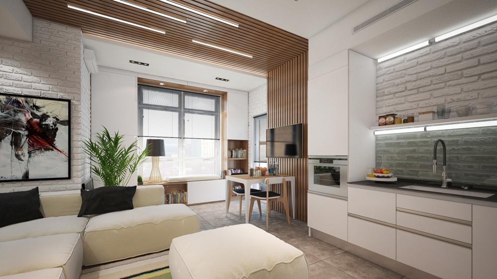 Натуральные тона и природные материалы - всегда беспроигрышный выбор для жилья любой площади