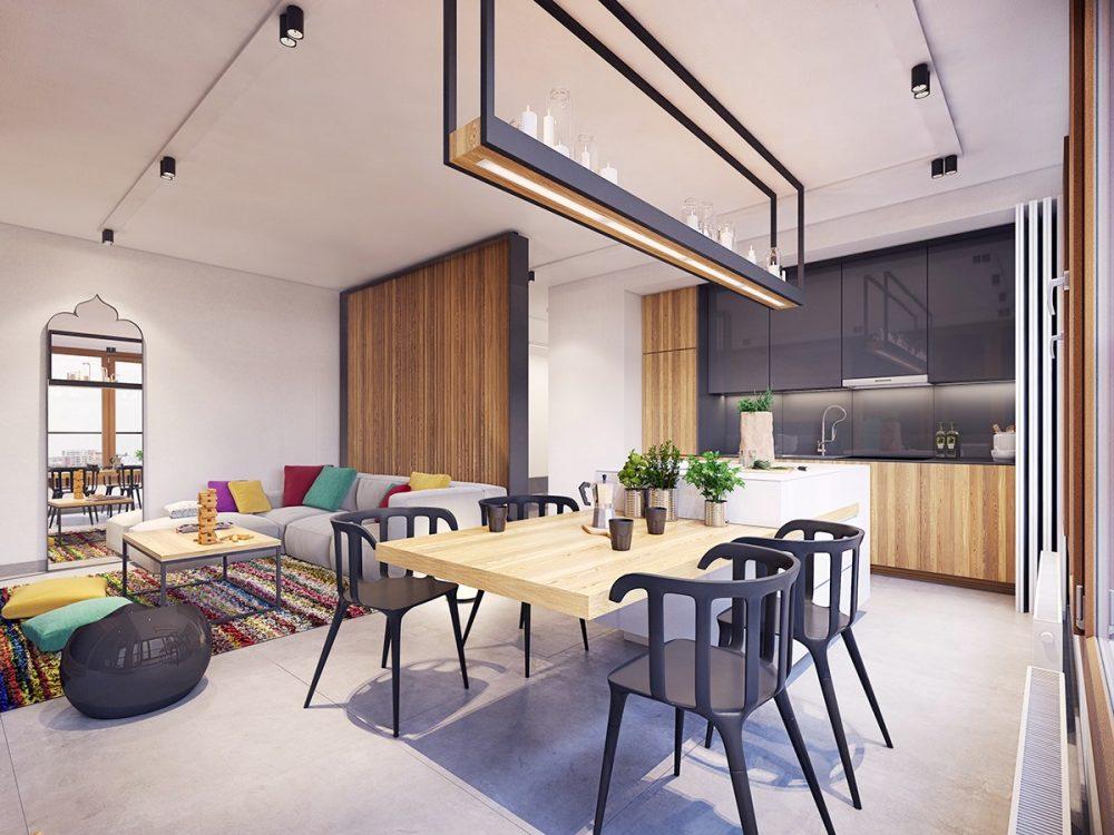 Использование насыщенных цветов для четкого зонирования зрительно делает эти варшавские апартаменты больше, чем они есть на самом деле. Дизайн - Plastelina, Лодзь, Польша