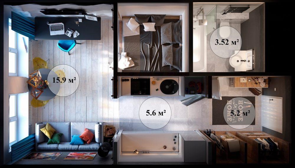 Планировка удобного компактного жилья площадью 30 кв. м