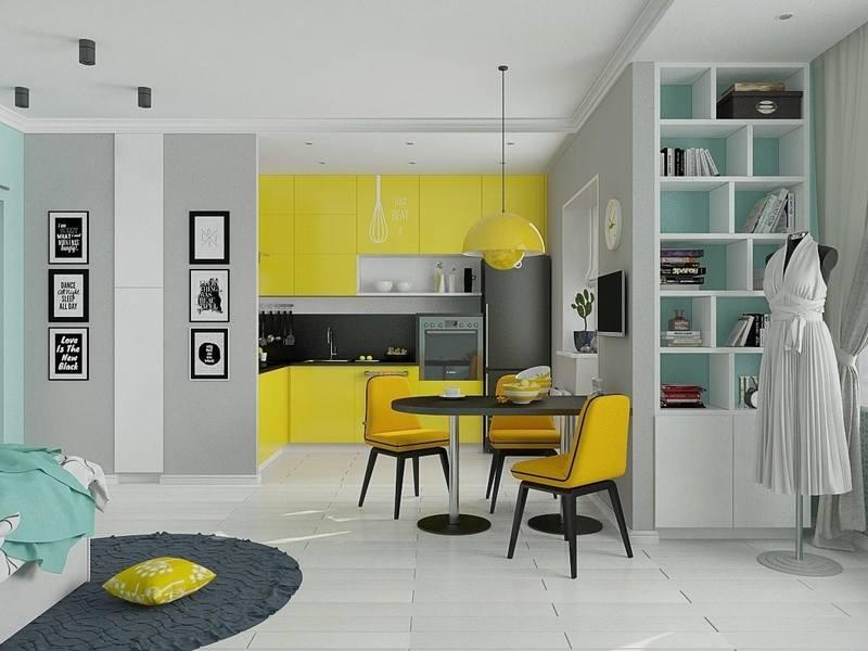 Дизайн квартир студий маленьких по площади, предполагает использование ярких акцентов