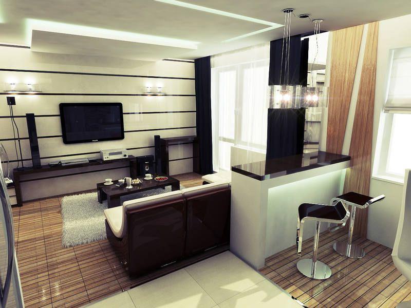 Дизайн квартиры студии маленькой площади с барной стойкой