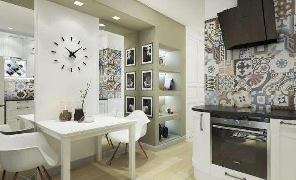 Дизайн кухни в маленькой квартире студии - фото столовой зоны