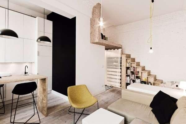 Современный дизайн квартиры студии в черном, белом и коричневом тонах