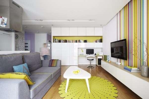 Маленькая квартира студия в ярких тонах и современном стиле