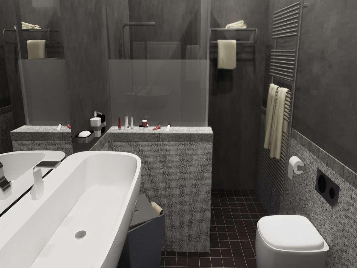 интерьер серой ванной комнаты