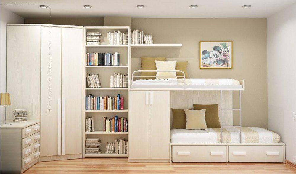 белая мебель со шкафами и кроватьями в детской комнате для девочек