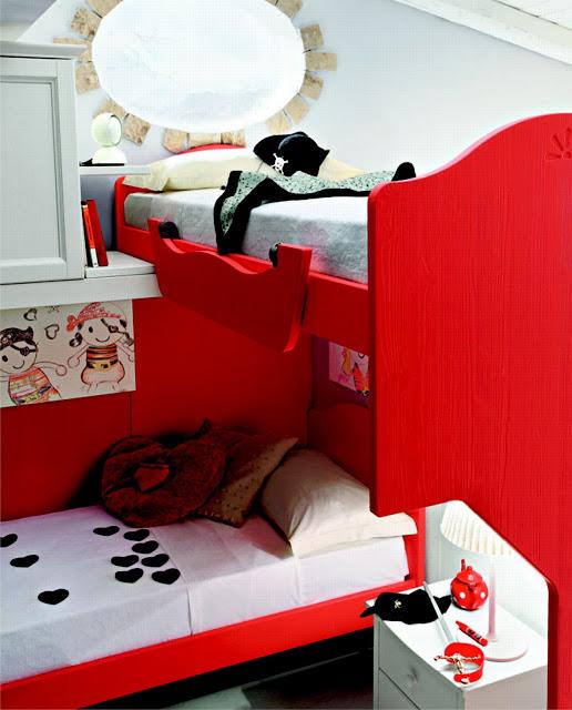 красный в интерьере детской для девочек