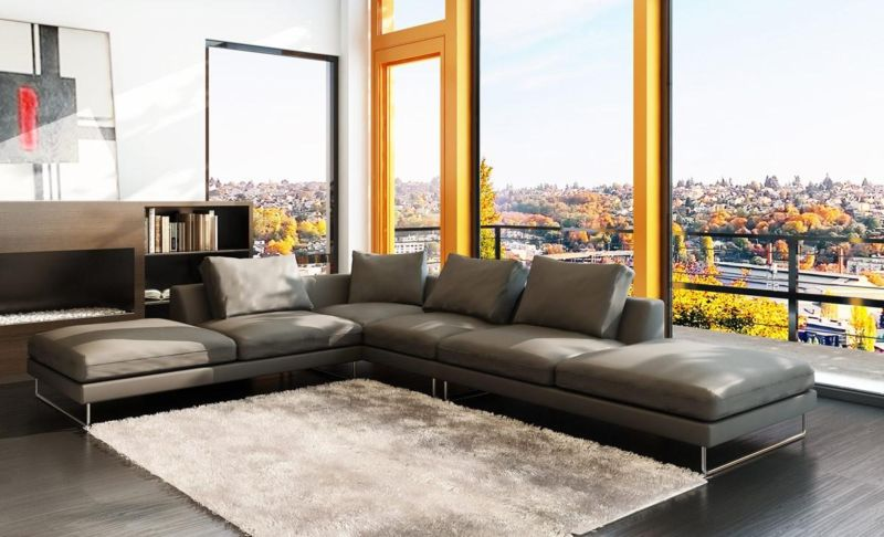 elegance-beautiful-gray-sofa-design-in-modern-style-living-room-as-well-wide-glass-window-plus-balcony-in-the-nearby-also-white-fur-rug-on-dark-wooden-floor-also-wooden-bookshelf
