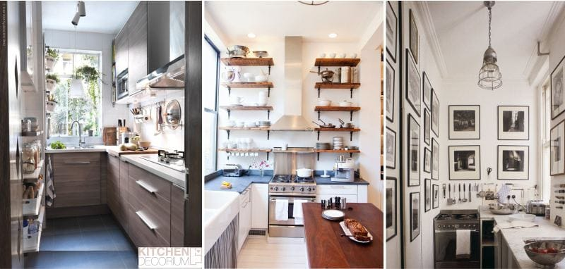 Г-образная узкая кухня без обеденной группы