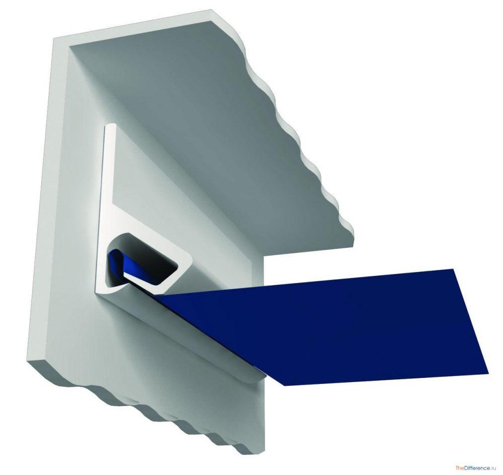 идея использования гарпунной системы крепления натяжных потолков в отделке комнаты