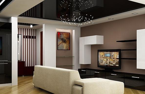 Черный потолок должен сочетаться с основным оформлением комнаты