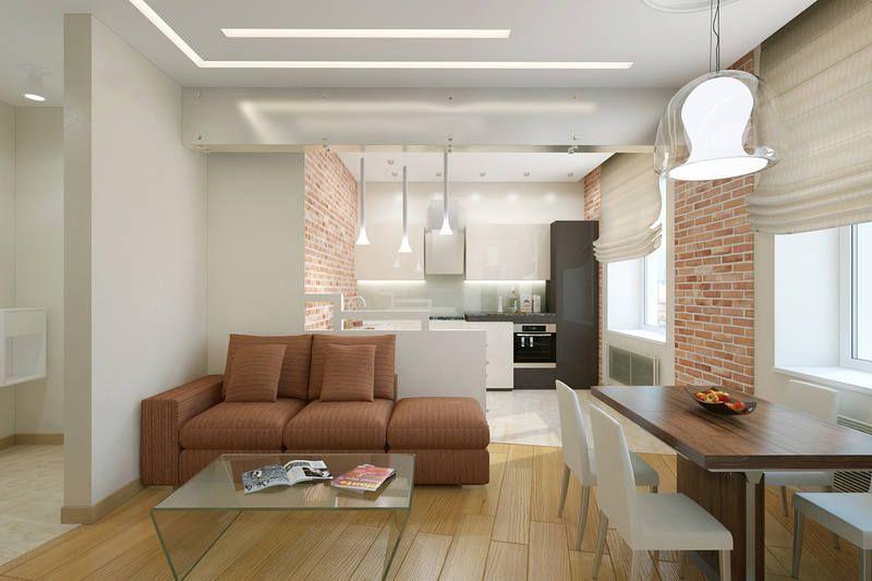 Использование различного напольного покрытия и фактуры стен для зонирования пространства