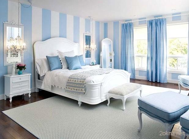 Фото - шторы к голубым обоям