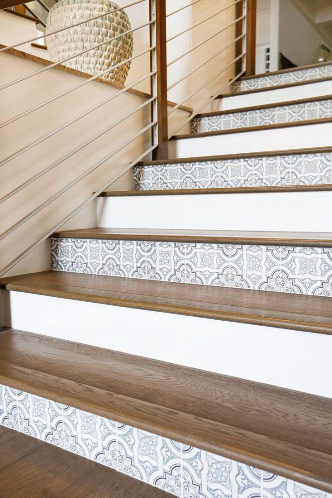 Керамическая глазурованная плитка использована для облицовки подступенков