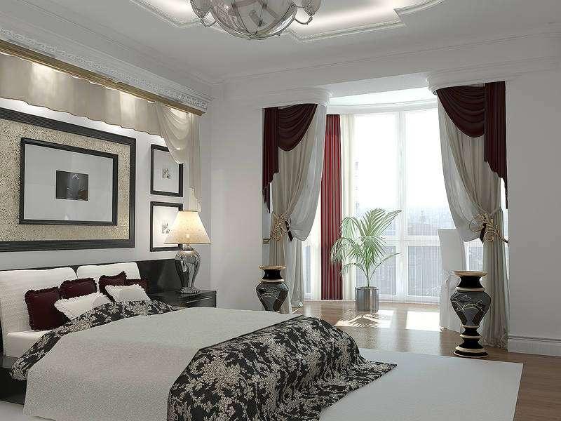 классический дизайн спальни с балконом
