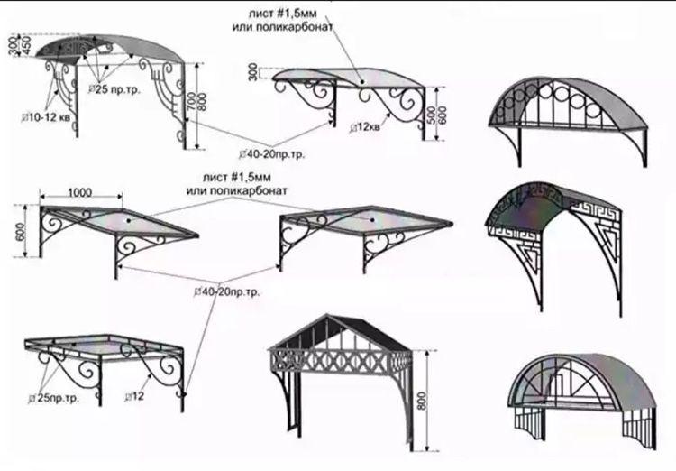 Возможные схемы навесов, в монтаже которых могут использоваться листы из поликарбоната.