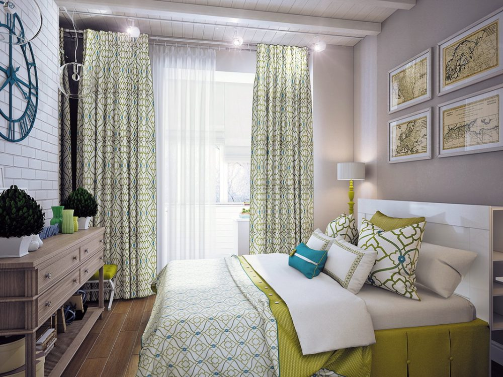 красивый дизайн спальни с балконом