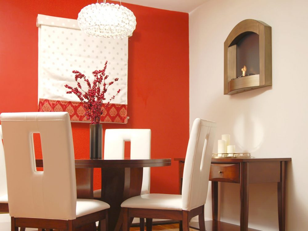 фото красный цвет стен в кухне