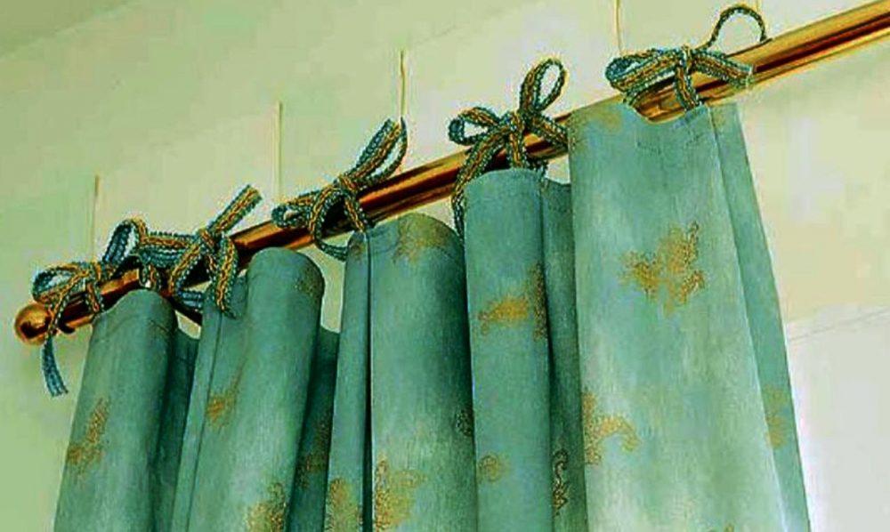 Крепление шторы на трубчатый карниз на петли завязках