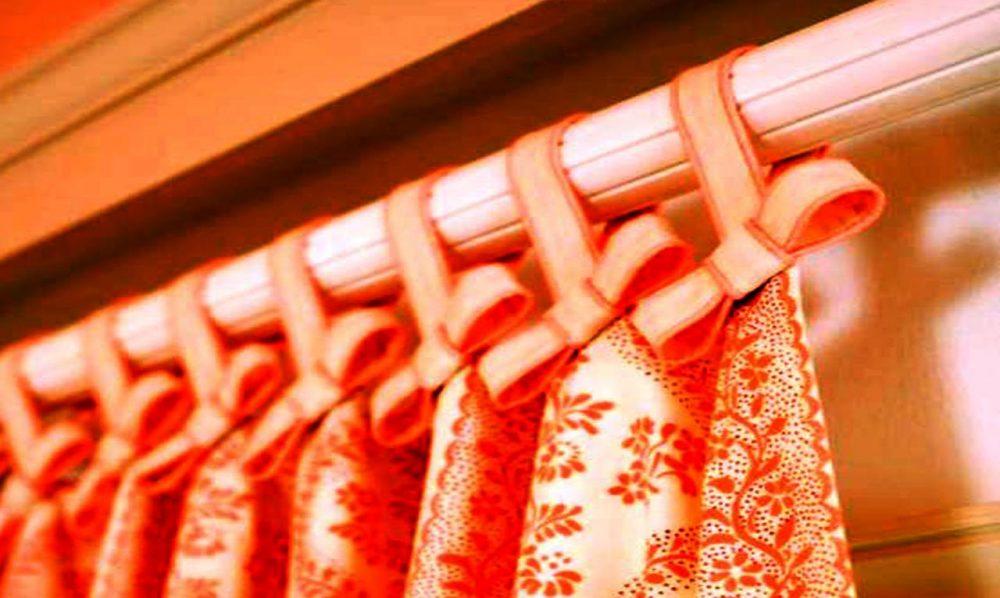 Крепление шторы на трубчатый карниз на петли из тесьмы