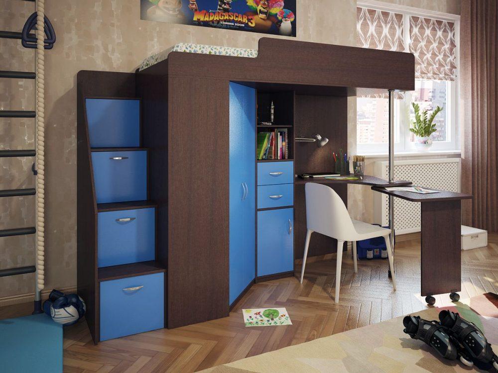 Кровать чердак с лестницей комодом и рабочим местом