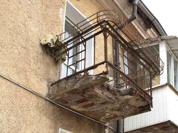 разрушенная балконная плита