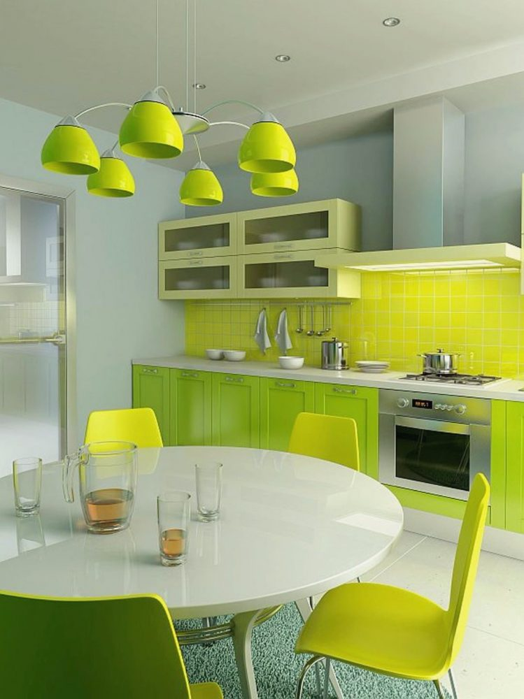 Салатовый хорошо сочетается с желтым, такой интерьер выглядит свежим и сочным