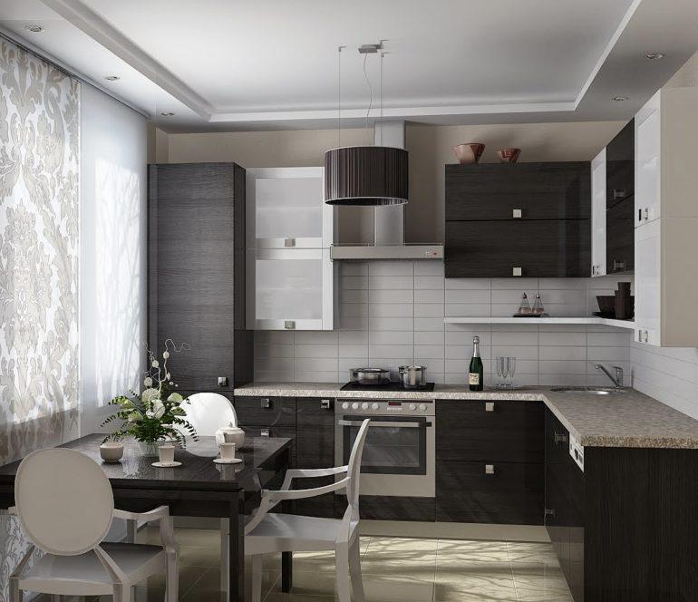 В скромной по размерам кухне важно знать меру при использовании темных, колоритных оттенков