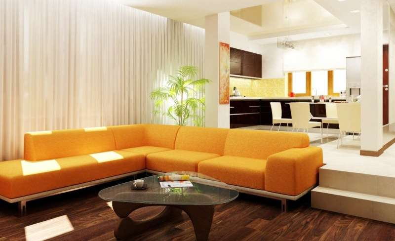 угловой жёлтый диван на кухне-гостиной