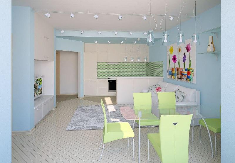 голубой интерьер совмещённой гостиной с кухней