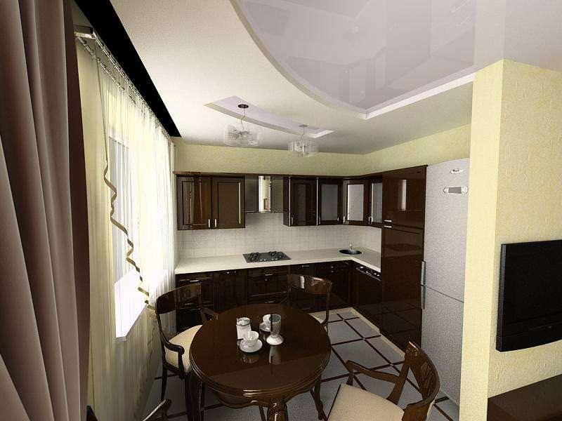 угловая коричневая кухня на совмещённой кухне с залом в хрущёвке