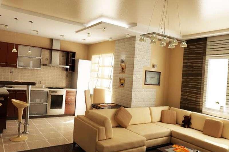 бежевый интерьер совмещённой кухни с залом в хрущёвке