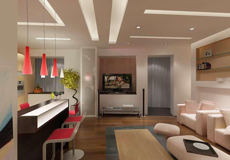 светильники на совмещённой кухне с залом в хрущёвке