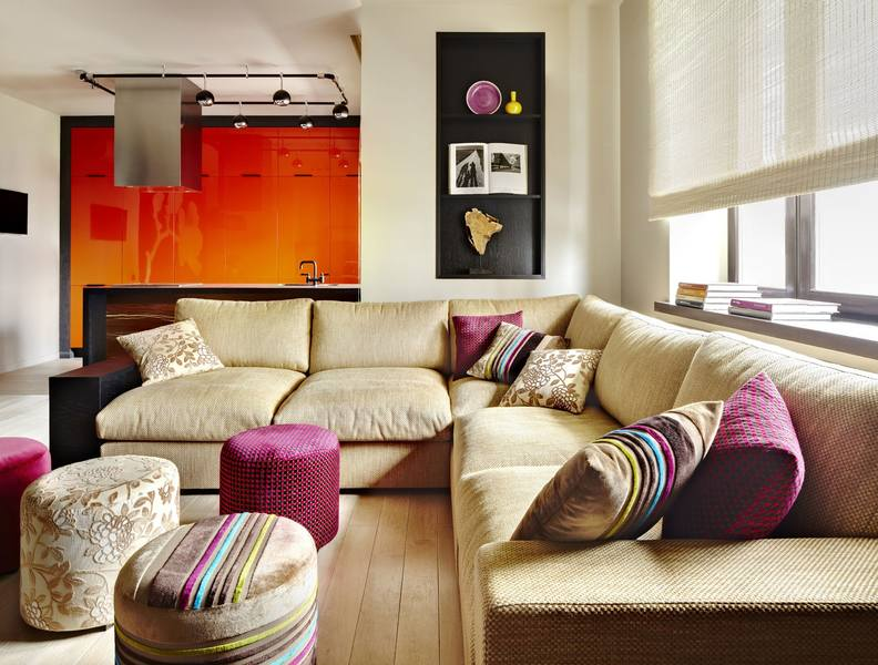 Квартира студия малогабаритная в стиле «Фьюжн»