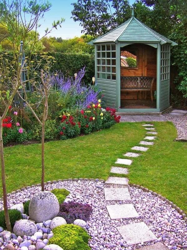 Дизайн двора частного дома - фото беседки с ландшафтного дизайна