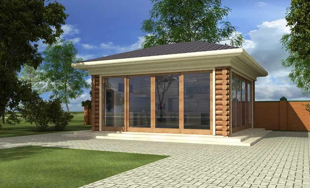 Летняя кухня из оцилиндрованного бревна с большими окнами в пол