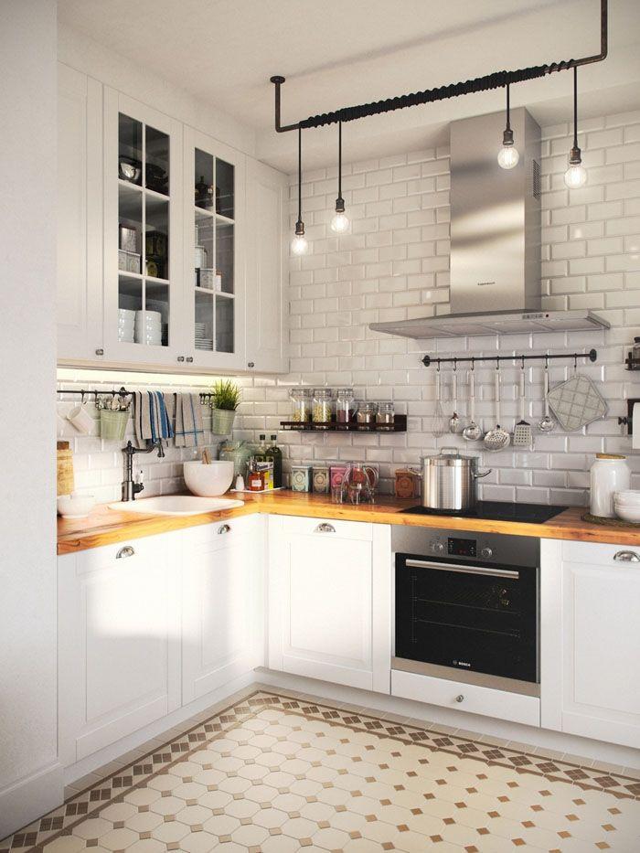 Стиль требует соответствующего декора. Лофт на кухне немыслим без свисающих лампочек