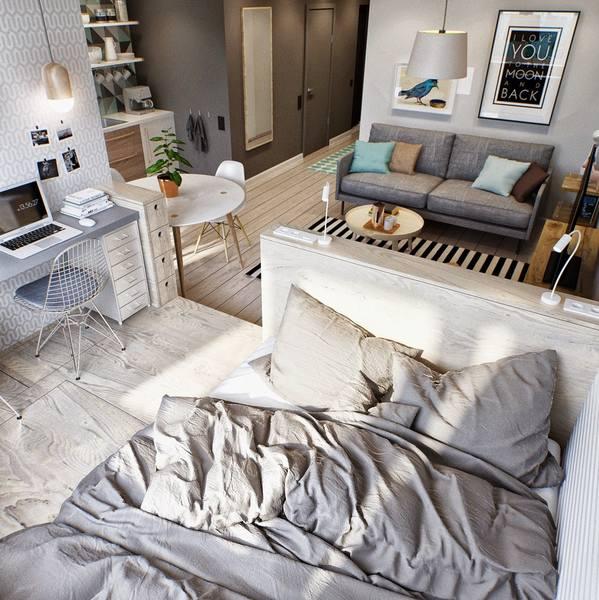 Маленькая квартира студия интерьер с подиумом