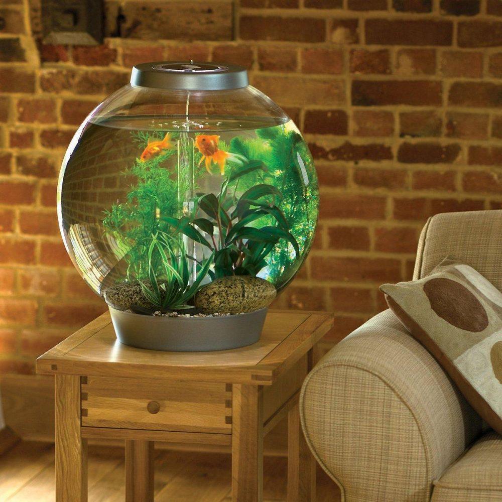 Небольшой аквариум на деревянной тумбочке около дивана